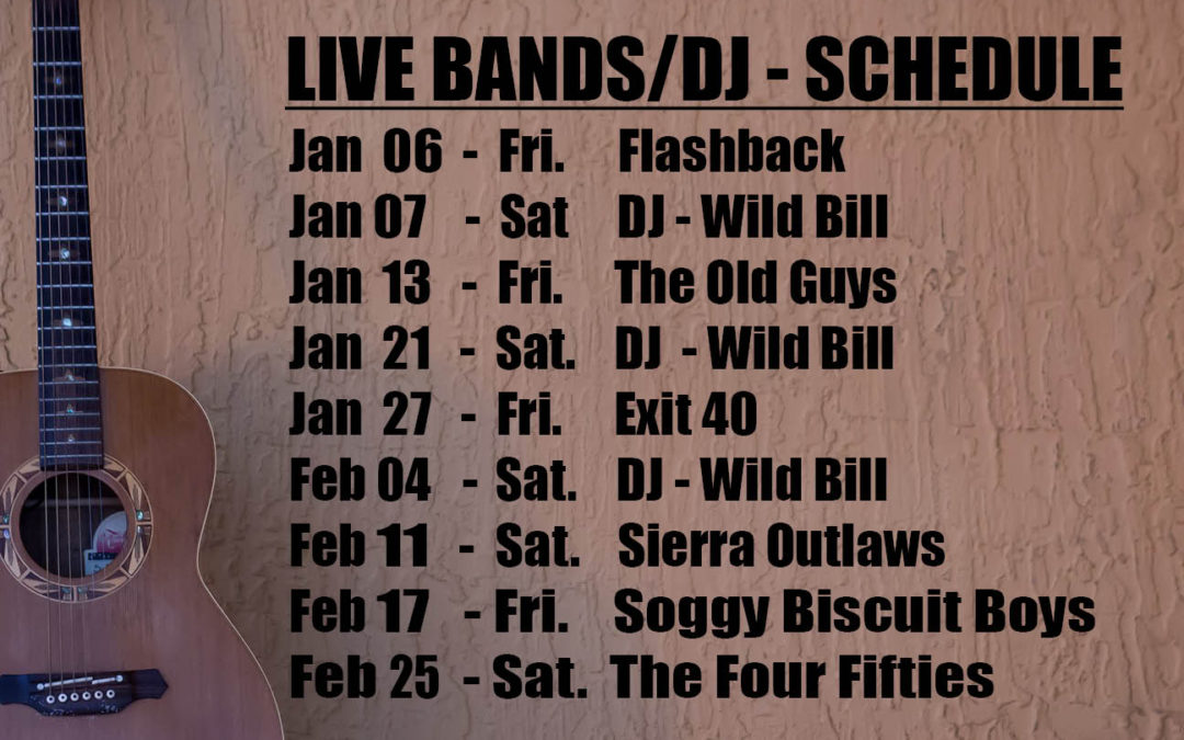 Live Music Schedule Jan – February 2017