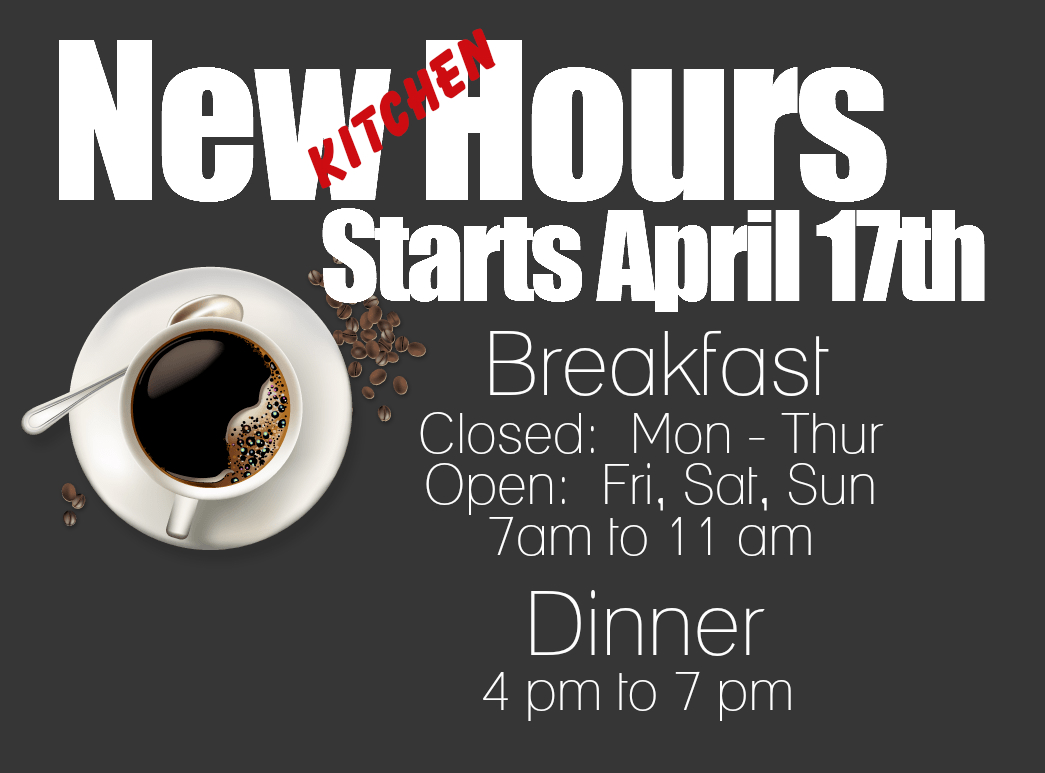 NEW KITCHEN HOURS
